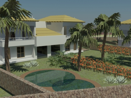 rendering house with swimming pool
